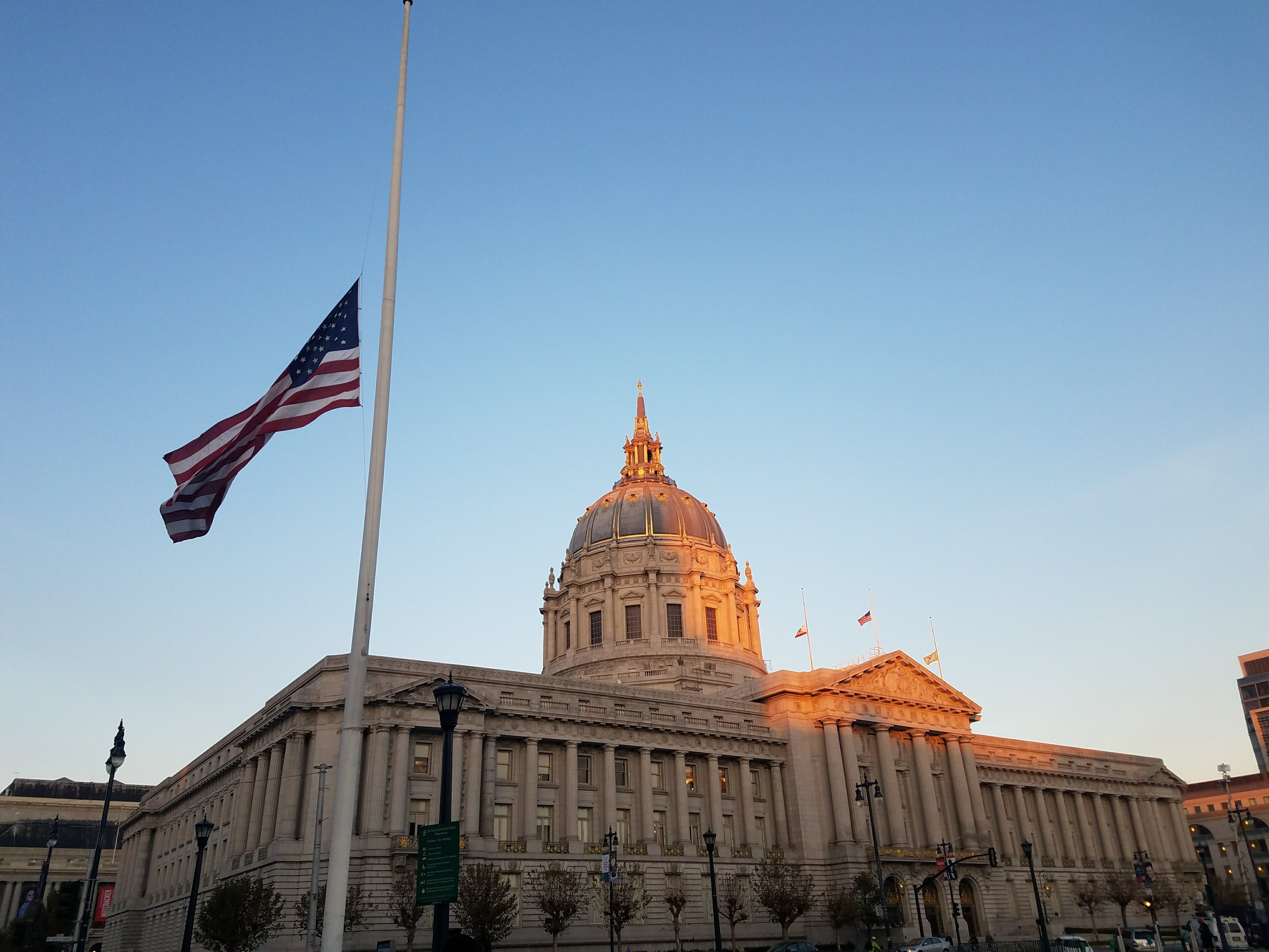 City hall flags at half mast the morning of Mayor Ed Lee's death.