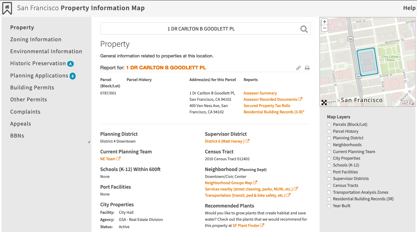 Screenshot of the property information map