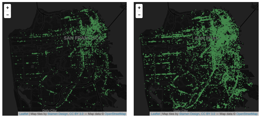 Two maps showing the distribution of commerical leads before and after the DataScienceSF project.