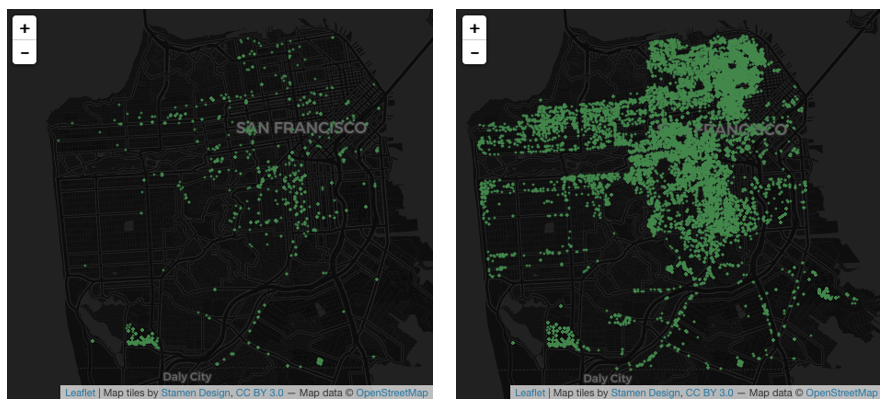 Two maps showing the distribution of multifamily leads before and after the DataScienceSF project.